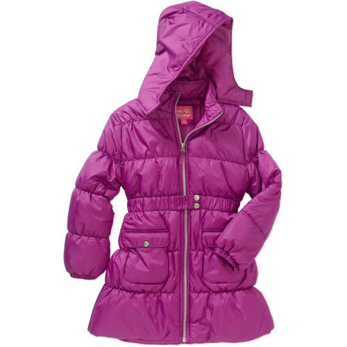 Pink Platinum Girls' Belted Long Puffer Jacket with Pockets
