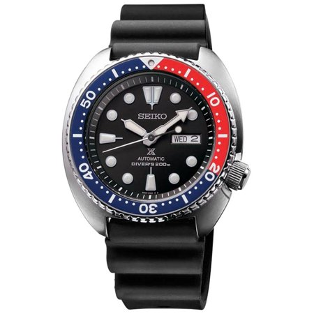 Prospex Mens Turtle Automatic - Blue / Red Bezel - Rubber Strap - Day/Date