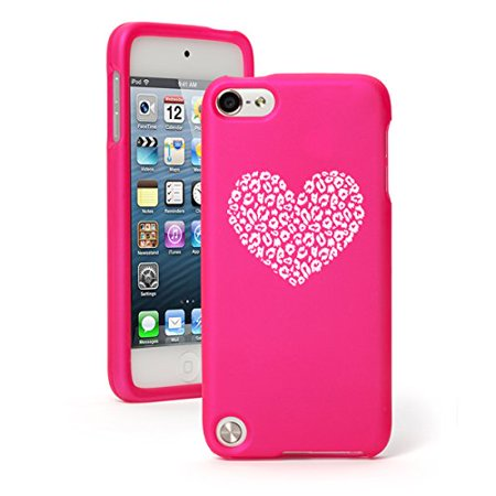 Apple iPod Touch 6th Generation Rubber Hard Case Cover Leopard Print Love Heart