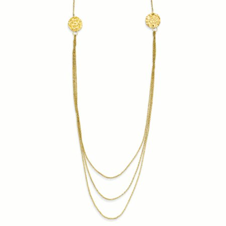 Gold Textured Circle Link (14K Yellow Gold 1 MM 3 Layer Ropa Link Texture Side Circles with 2