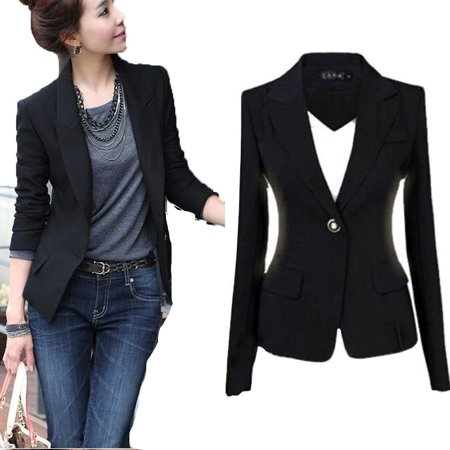 Buttoned Blazer - Fashion Women's One Button Slim Casual Business Blazer Suit Jacket Coat Outwear