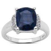 Malaika Sterling Silver 4 1/5ct TGW Sapphire and White Topaz Ring Size-8, Blue