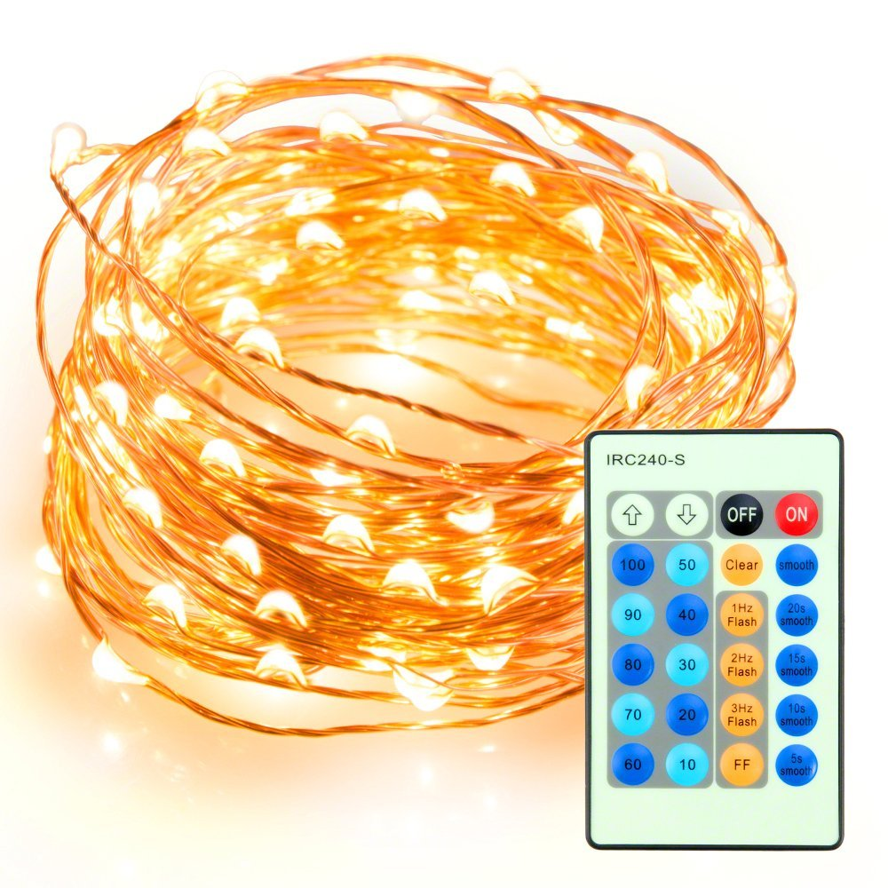 33ft 100 LED String Lights Dimmable with Remote Control, TaoTronics Waterproof Decorative Lights for Bedroom, Patio,... by TaoTronics