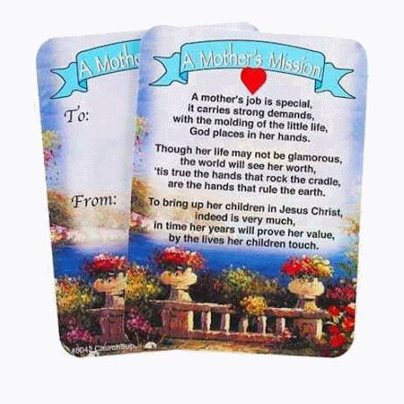Mother's Mission Pocket Prayer Cards Package of 100 Mother's Day