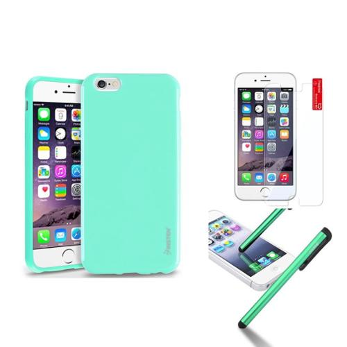 "Insten Mint Green Jelly TPU Rubber Case For Apple iPhone 6 6S 4.7""+Stylus Pen+Protector"