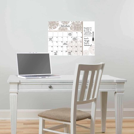WallPops Kolkata Monthly Dry Erase Calendar Decal With Notes
