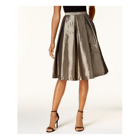 ALEX EVENINGS Womens Brown Pleated Metallic Below The Knee A-Line Cocktail Skirt  Size: S
