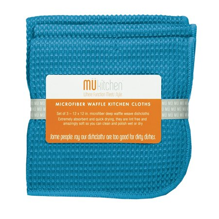Microfiber Waffle Dishcloth, 12 by 12-Inches, Set of 3, Sea Blue, A cloth so versatile; use them wet or dry for almost every cleaning need By MUkitchen