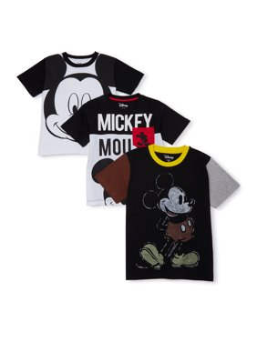 Disney Mickey Mouse Boys 4-7 Elevated T-Shirts, 3-Pack