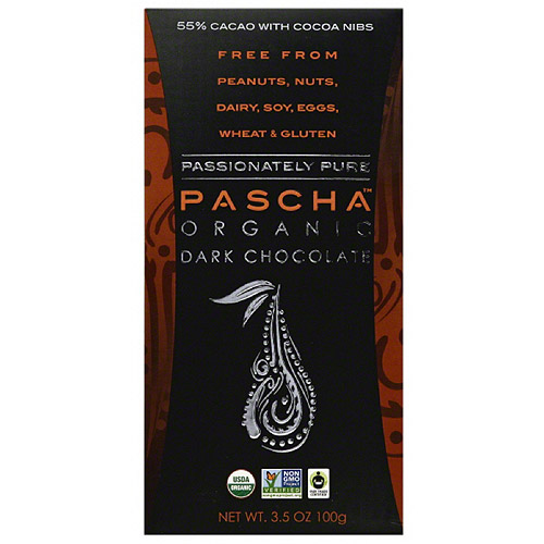 Pascha 55% Cacao with Cocoa Nibs Organic Dark Chocolate, 3.5 oz (Pack of 10)