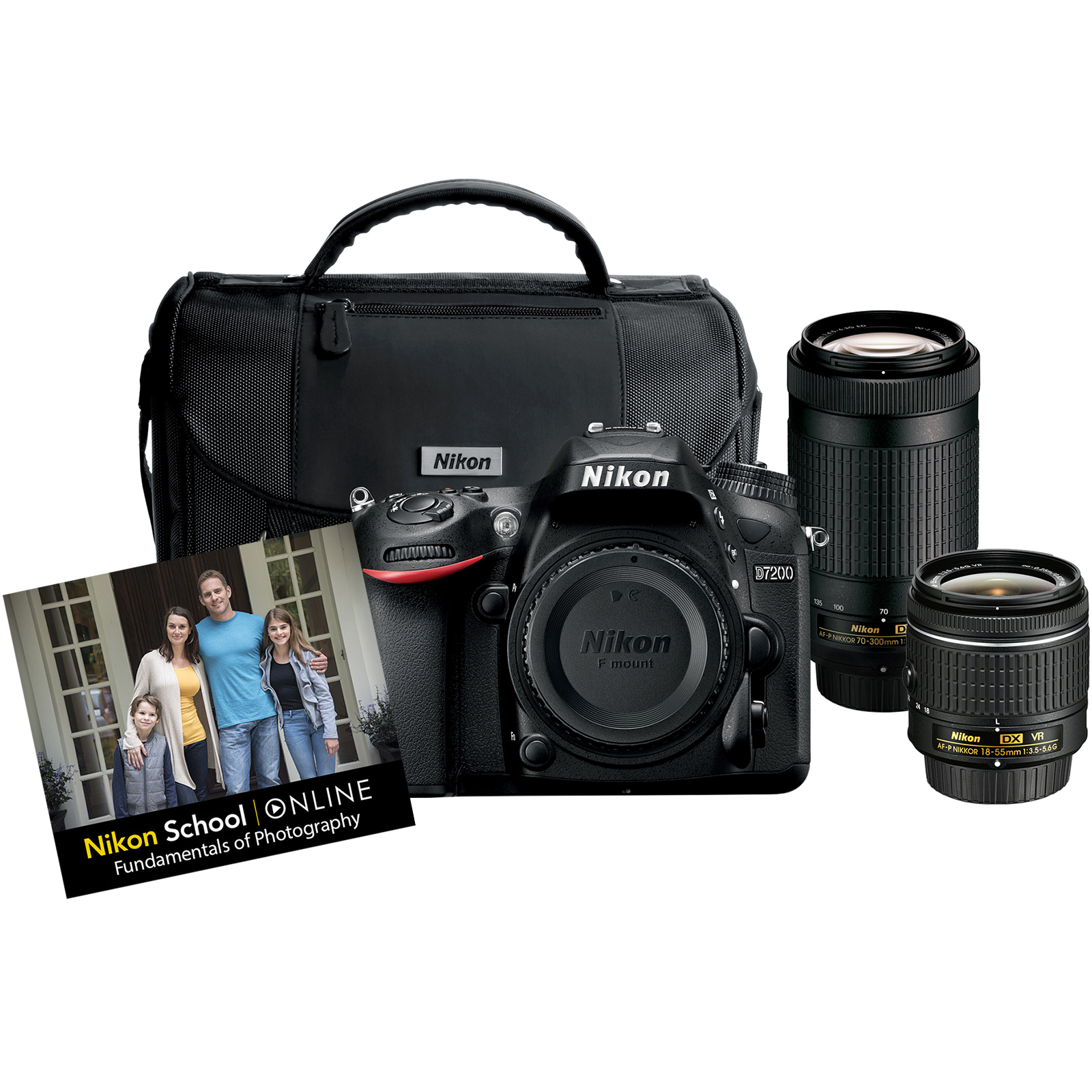 Nikon D7200 Digital SLR Camera with 18-55mm VR and 70-300mm DX AF-P Lenses & Case also includes Online Class by Nikon