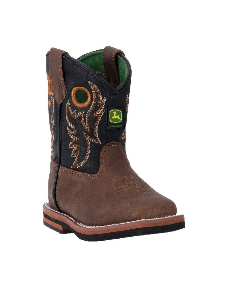 John Deere Western Boots Boys Kids Broad Toe Brown Distressed JD1025 by John Deere