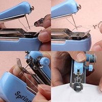Rurah Mini Travel Portable Cordless Hand-held Clothes Sewing Machine Home - Blue