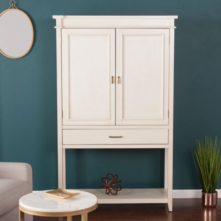 Southern Enterprises Panico Fold-Out Bar Cabinet, Transitional Style, Antique White