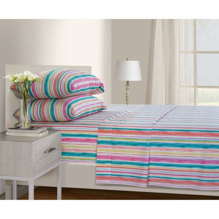 Serendipity 200 Thread Count Printed Percale Sheet Set, QUEEN, Brush Stroke (Print 200 Thread)