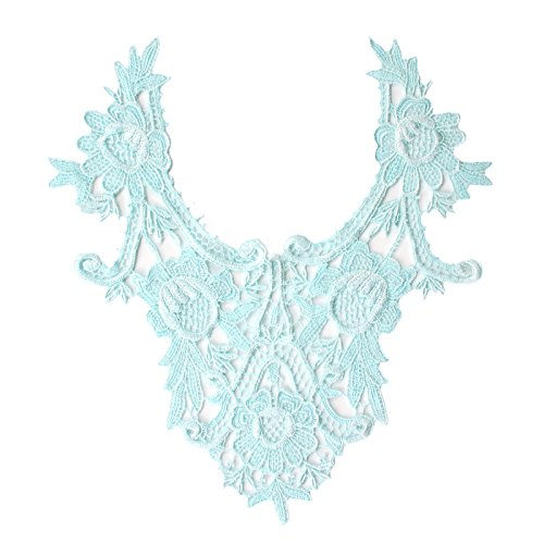 "Lt Blue 11.25""x12"" Venice Lace Embroidered Bridal Bodice Patch by Piece"