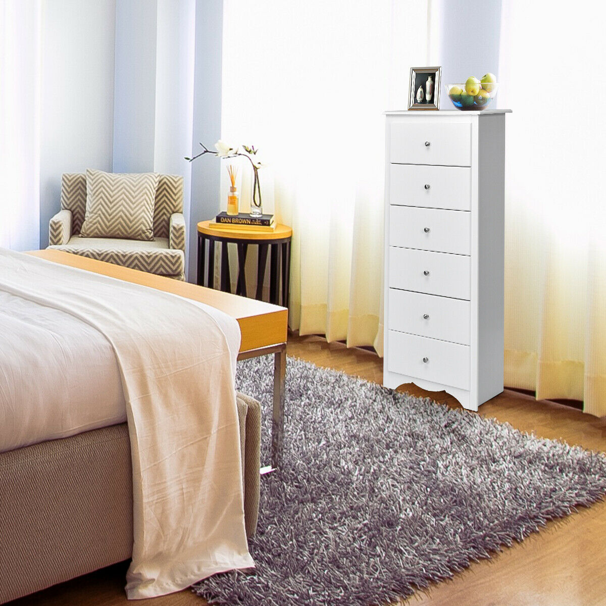 gymax 6 drawer chest dresser clothes storage bedroom tall