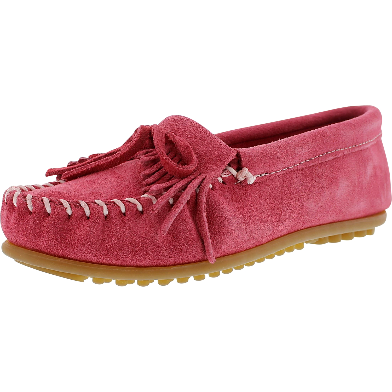 Minnetonka Kilty Moc Women  Moc Toe Suede Pink Moccasins Shoes