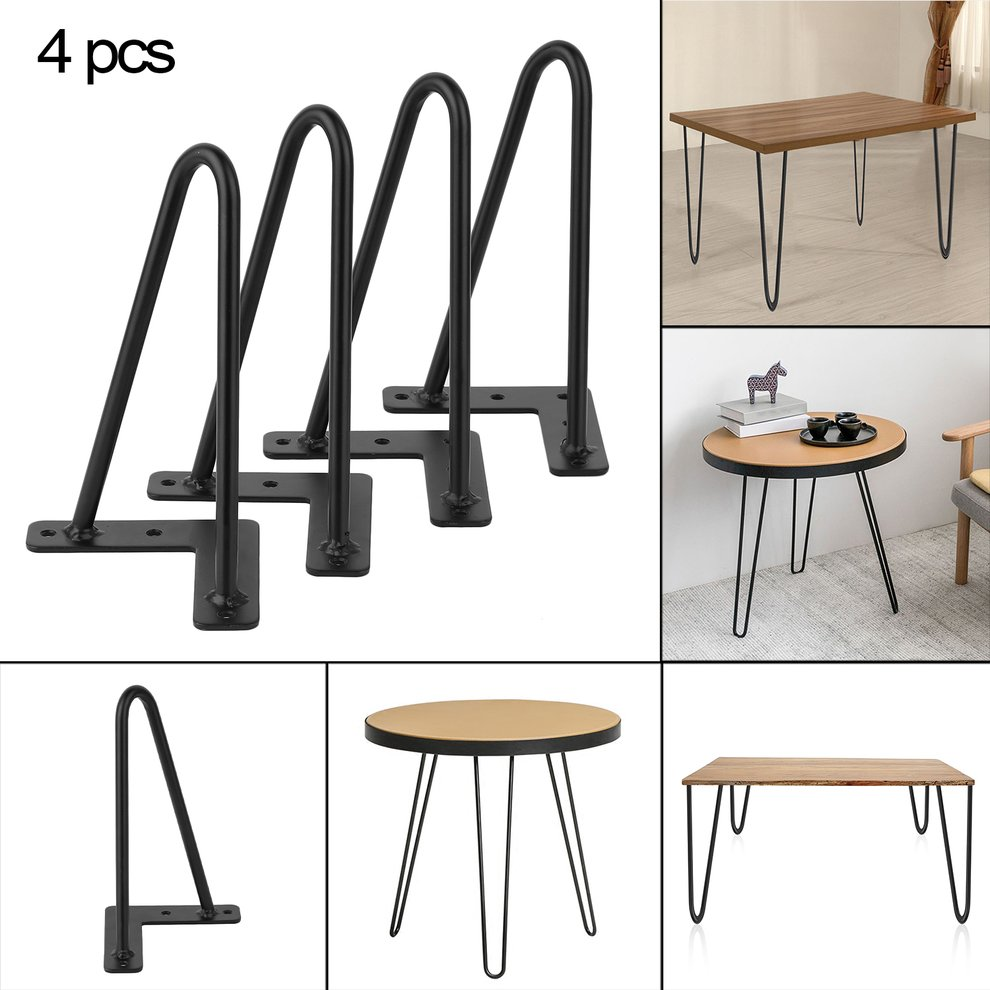 Hot Selling 4PCS/Set 8 Inch 10mm Solid Iron Vintage Sturdy Coffee Table  Hairpin Legs