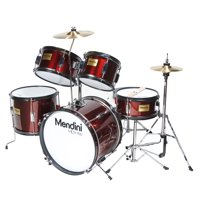 """Mendini by Cecilio 16"""" 5-Piece Complete Kids / Junior Drum Set with Adjustable Throne, Cymbal, Pedal & Drumsticks, Metallic Wine Red, MJDS-5-WR"""