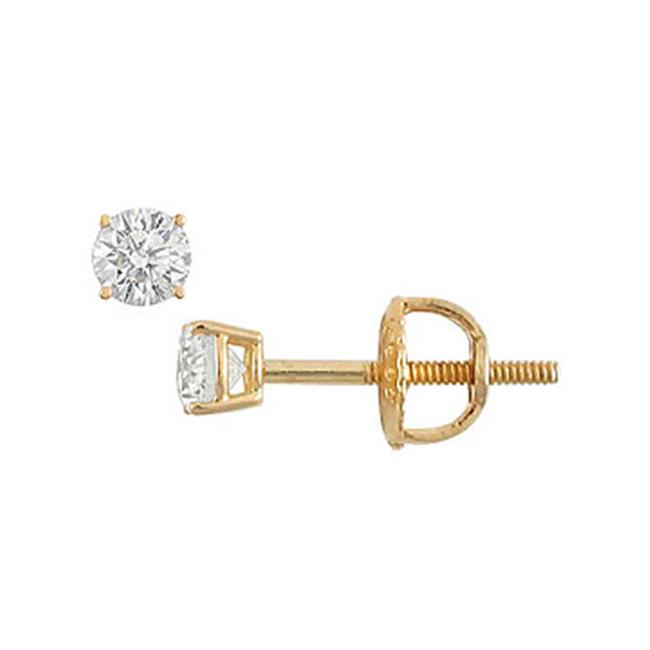 Fine Jewelry Vault UBER14YG4RD010DSI 14K Yellow Gold- Round Diamond Stud Earrings - 0. 10 CT.  TW.