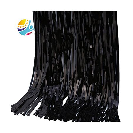 TKOOFN Foil Door Curtains Shimmer Fringe Party Halloween Xmas Birthday Party Decoration - Black - Halloween Party Index