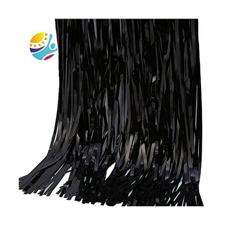 TKOOFN Foil Door Curtains Shimmer Fringe Party Halloween Xmas Birthday Party Decoration - Black