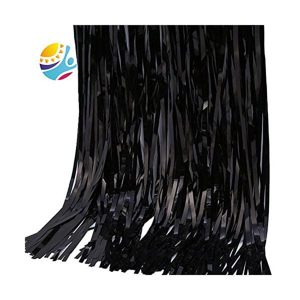 TKOOFN Foil Door Curtains Shimmer Fringe Party Halloween Xmas Birthday Party Decoration - Black
