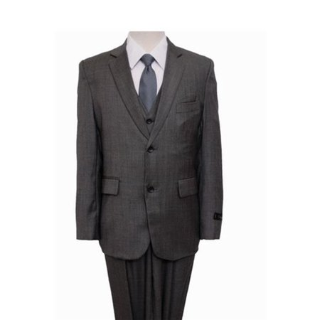 - Mens Suits  Windowpane 2 Button Front Closure Interior Pick Stitching Boys Suits  Grey - 7
