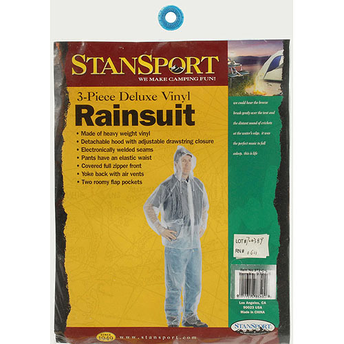 Stansport Men's Vinyl Rainsuit with Hood, Clear