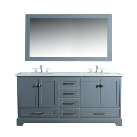 Stufurhome Newport Grey 72 inch Double Sink Bathroom Vanity with Mirro