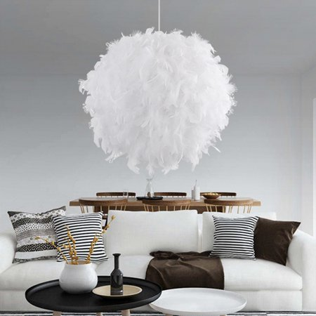 Modern Luxury Feather Ball Home Decor Ceiling Chandelier Pendant Light Droplight for Living Room Bedroom Christmas Birthday (Chandelier Rose Pendant)