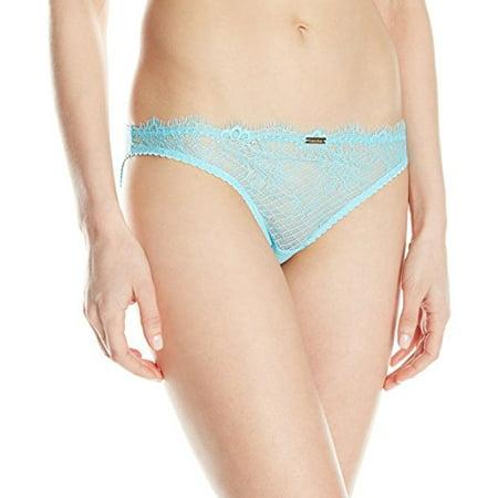 Calvin Klein Eyelash Chantily Bikini Panty Skipper Blue Size Large