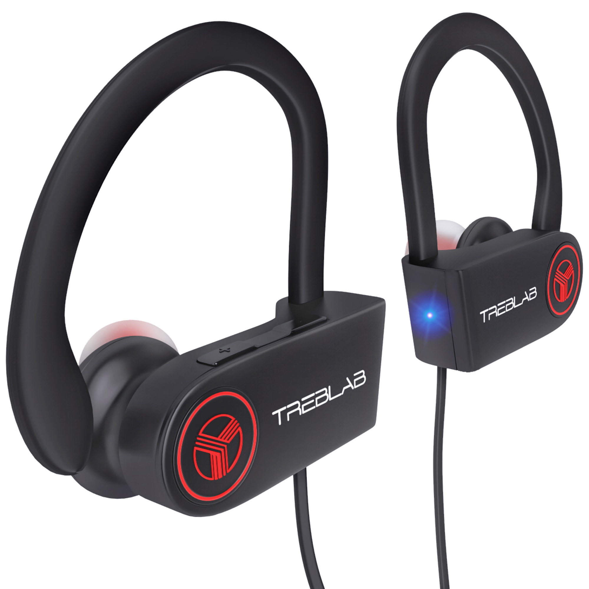 TREBLAB XR100 Bluetooth Sport Headphones, Wireless Earbuds for Running Workout, Noise Cancelling Sweatproof Cordless Headset for Gym Use, Earphones w/Mic, iPhone Android (Black)