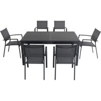 "Hanover Cameron 7-Piece Expandable Dining Set with 6 Sling Dining Chairs and a 40"" x 94"" Table"
