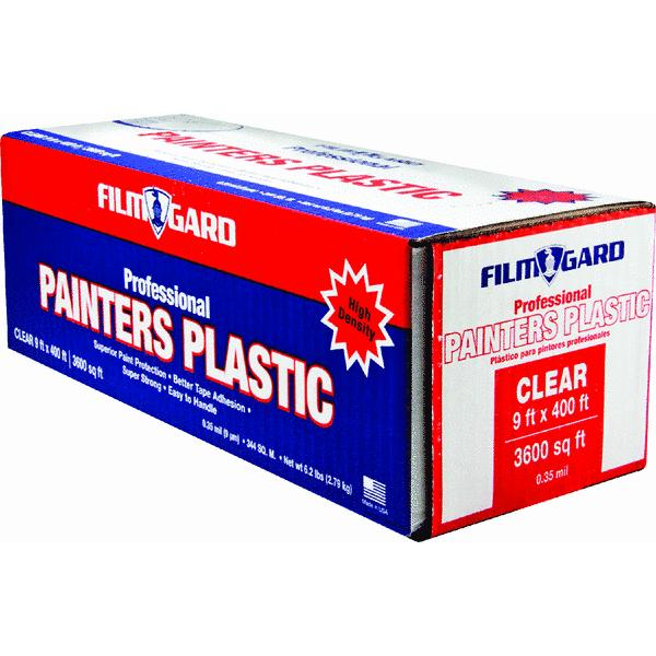 Film Gard Painter's Plastic Clear Sheeting Roll, 0.35 Mil, 9' x 400', High Density