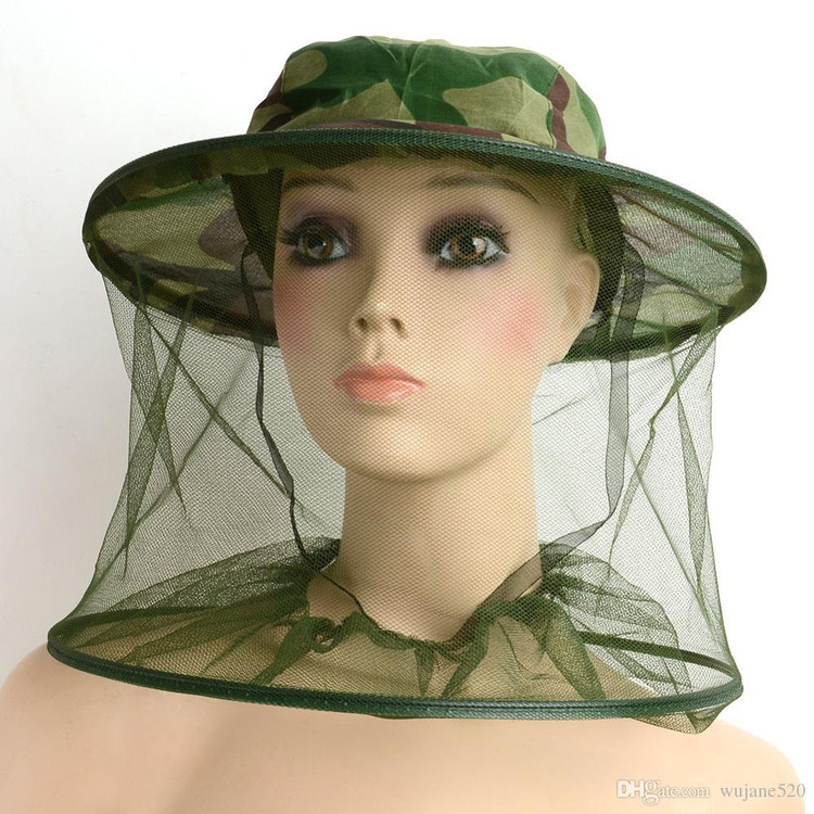 Camo Head Net Camo Face Net Insect Bee Mosquito Resistance Bug Net Mesh Head Face Protector Cap Sun Hat by
