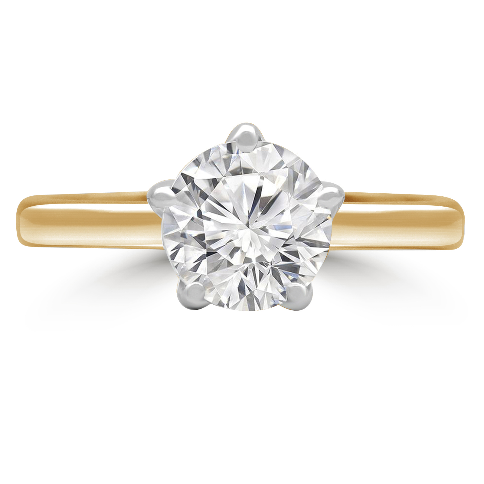1 1/5 CT Round Diamond Solitaire Engagement Ring in 14K Two-Tone Gold (MD180439) - image 1 de 2