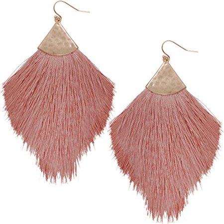Fringe Tassel Statement Dangle Earrings - Lightweight Long Feather Drops, Dusty Rose - Fringe, Pink, Mauve, Gold-Tone