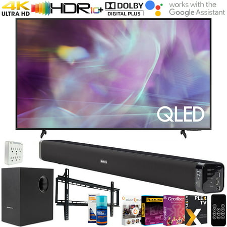 Samsung Q60 43 Inch QLED 4K UHD 2021 Smart TV with Deco Gear Soundbar and Subwoofer Bundle Plus Complete Mounting and Streaming Kit for Q60AA Series (QN43Q60AA)
