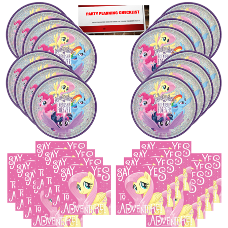 My Little Pony Birthday Party Supplies Bundle Pack for 16 with Large 17 inch Balloon Plus Party Planning Checklist by Mikes Super Store - Party Store Omaha