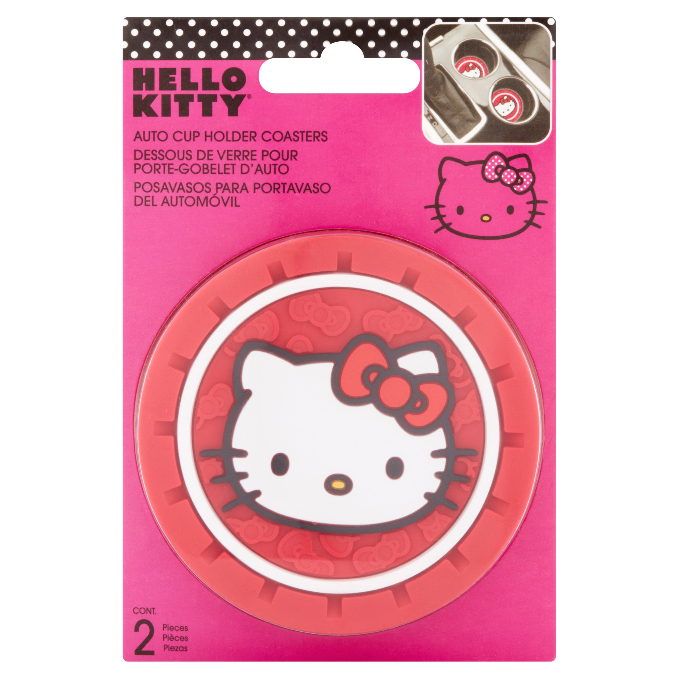 c4b73bff1 Hello Kitty Auto Cup Holder Coasters, 2 count - Walmart.com
