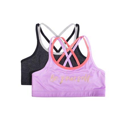Athletic Works Girls Crop Strappy Back Bra, 2 Pack (Little Girls & Big Girls) ()