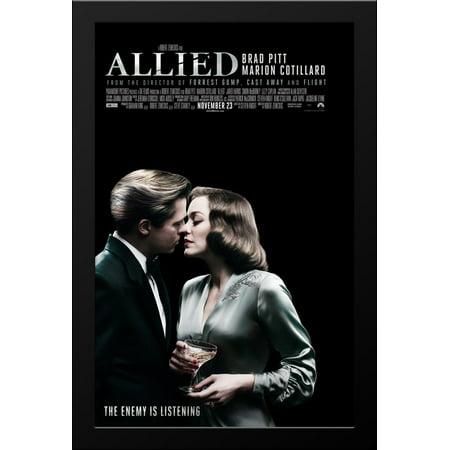 Allied 28X38 Large Black Wood Framed Movie Poster Art Print