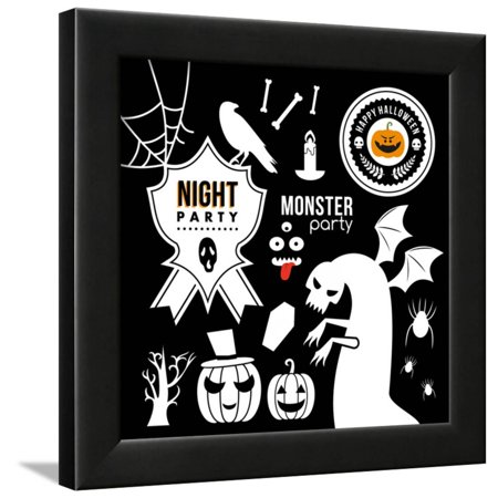 Halloween Decorations Folk Art (Set of Halloween Party Decoration Design Elements. Vector Illustration. Framed Print Wall Art By)