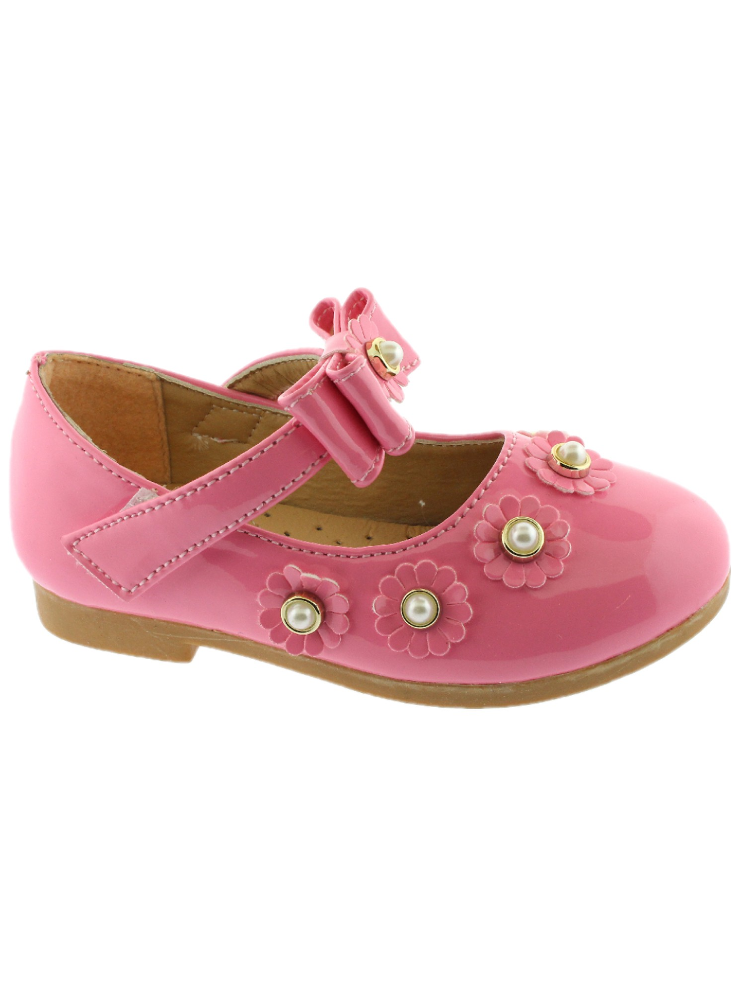 GIRLS KIDS CHILDRENS FLAT MARY JANE TOUCH STRAP FLOWER DRESS SCHOOL SHOES SIZE