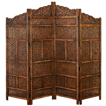 "4 Panel Screen China - DecMode 80"" x 72"" Large 4-Panel Brown Wood Screen Decorative Room Divider"