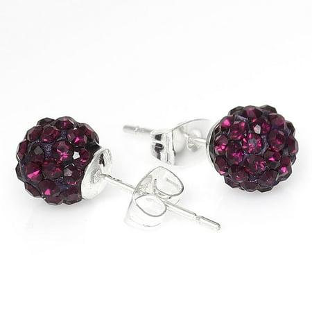 8mm Dark Purple Rhinestones Crystal Fireball Disco Ball Pave Bead Stud Earrings