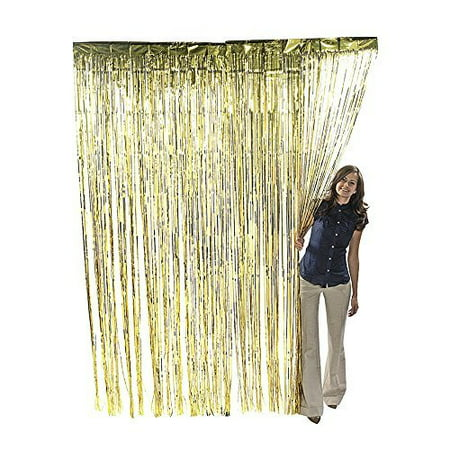 Metallic Gold Foil Fringe Shiny Curtain 3 foot x 8 foot (1 Curtain) by Super Z Outlet ()