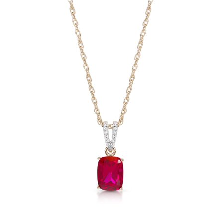 14K Gold Plated Sterling Silver Cushion Created Ruby & Created White Sapphire Pendant